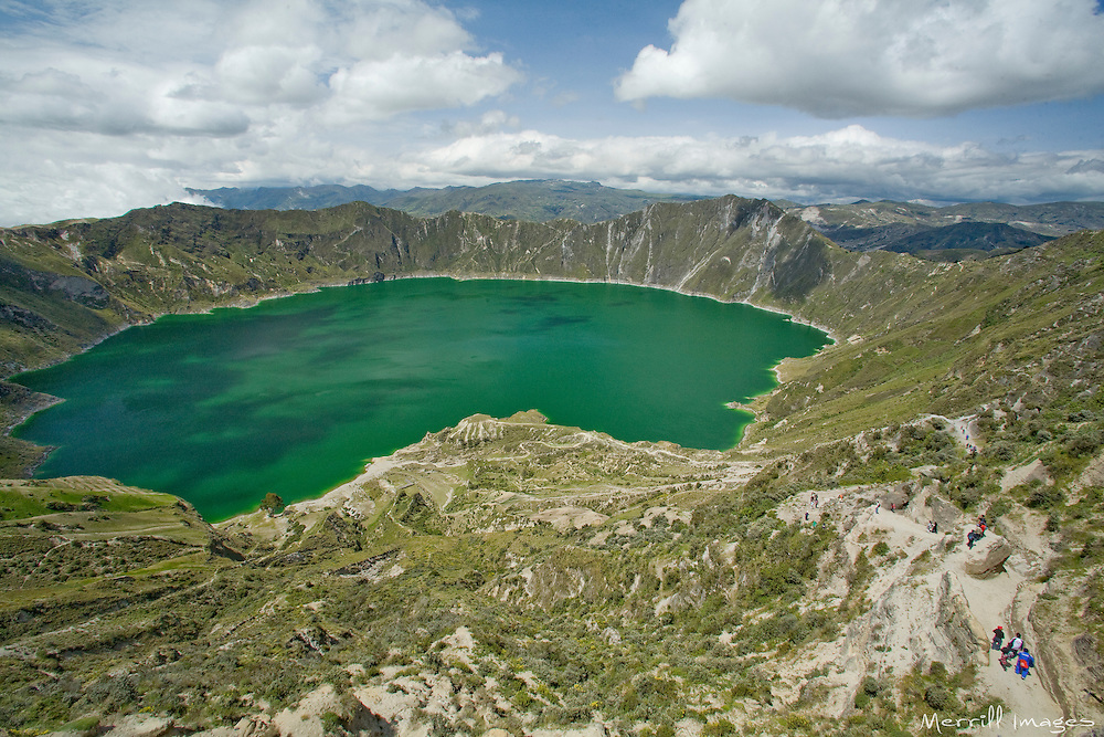 South America, Ecuador, Quilotoa, Lake Quilotoa, a volcanic crater filled by an emerald lake
