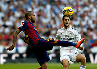 """Spanish  League""- match Real Madrid Vs FC Barcelona- season 2014-15 - Santiago Bernabeu Stadium - Isco (Real Madrid) and Dani Alves(FC Barcelona) in action during the Spanish League match(Photo: Guillermo Martinez / Bohza Press / Alter Photos)"