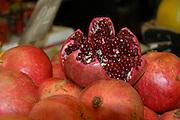 Pomegranate stall Photographed at Machane Yehuda Market, Jerusalem, Israel
