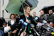 Elizabeth Smart addresses the media outside the federal court house following the guilty verdict in the Brian David Mitchell trail Friday, Dec. 10 2010 in Salt Lake City. Mitchell was found guilty for the June 5 2002 kidnapping of Elizabeth Smart. (AP Photo/Colin E Braley)