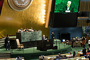 Mahmoud Abbas speaking at the General Assembly at the United Nations in New York City, NY on September 20, 2017.