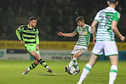 Forest Green Rovers Lee Collins(5) passes the ball during the EFL Sky Bet League 2 match between Yeovil Town and Forest Green Rovers at Huish Park, Yeovil, England on 24 April 2018. Picture by Shane Healey.