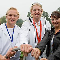 Hampton Court England Aug 31st   Gold Medallist Any Hodge, Eastender Actress Emma Barton and England Rugby Player Shane Geraghty attend The Great British Duck Race a fundraisng event  on the river Thames where 250,000 blue plastic ducks have been sent down the river  in an attempt to beat the previous world record