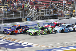 August 12, 2018 - Brooklyn, Michigan, United States of America - Denny Hamlin (11), Kyle Busch (18), Kevin Harvick (4) and Ryan Newman (31) battle for position during the Consumers Energy 400 at Michigan International Speedway in Brooklyn, Michigan. (Credit Image: © Chris Owens Asp Inc/ASP via ZUMA Wire)