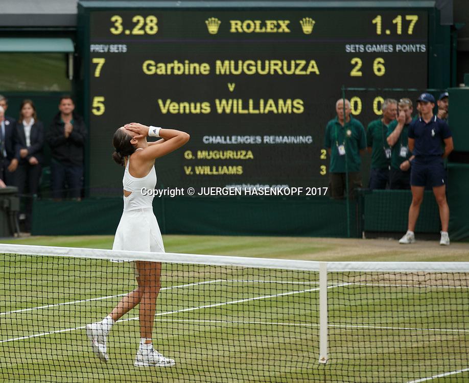 GARBI&Ntilde;E MUGURUZA (ESP) jubelt nach ihrem Sieg,Jubel,Emotion,Freude,, Endspiel, Final<br /> <br /> Tennis - Wimbledon 2016 - Grand Slam ITF / ATP / WTA -  AELTC - London -  - Great Britain  - 15 July 2017.