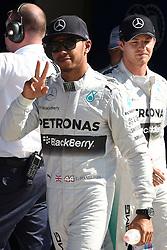 06.09.2014, Autodromo di Monza, Monza, ITA, FIA, Formel 1, Grand Prix von Italien, Qualifying, im Bild 06.09.2014, Autodromo di Monza, Monza, ITA, FIA, Formel 1, Grand Prix von Italien, Qualifying, im Bild Pole sitter Lewis Hamilton (GBR) Mercedes AMG F1 celebrates in parc ferme // during the Qualifying of Italian Formula One Grand Prix at the Autodromo di Monza in Monza, Italy on 2014/09/06. EXPA Pictures © 2014, PhotoCredit: EXPA/ Sutton Images/ Lundin<br /> <br /> *****ATTENTION - for AUT, SLO, CRO, SRB, BIH, MAZ only*****