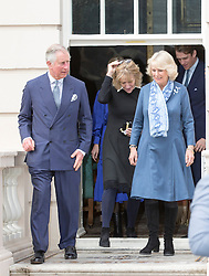 LONDON- UK - 26-MAR-2015: The Prince of Wales and The Duchess of Cornwall, Joint Presidents of Elephant Family, host a reception to launch the 'Travels to My Elephant' Rickshaw Race, Clarence House, London. During the event Their Royal Highnesses viewed the first two completed rickshaws taking part in the race. <br /> Camilla with her sister Annabel Shand Elliot<br /> Photograph by Ian Jones