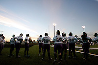 The Dallas Diamonds during warm-ups before playing against the Houston Energy in the Women's Professional Football League championship.<br />