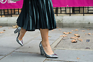 Silver Heels and Pleated Skirt, Outside Anya Hindmarch SS2017
