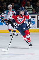 KELOWNA, CANADA -FEBRUARY 19:  Lucas Nickles #9 of the Tri City Americans skates against the Kelowna Rockets on February 19, 2014 at Prospera Place in Kelowna, British Columbia, Canada.   (Photo by Marissa Baecker/Getty Images)  *** Local Caption *** Lucas Nickles;