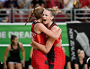 11th April 2018, Gold Coast Convention and Exhibition Centre, Gold Coast, Australia; Commonwealth Games day 7; Netball, England versus New Zealand; Helen Housby and Jo Harten of England celebrate a historic win over New ZEaland