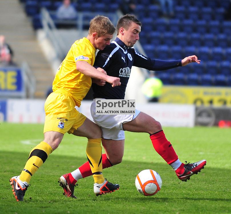 Mark Millar (Falkirk, blue) with Darren McGill..Falkirk v Ayr, SFL 1st Division, Saturday 5th May 2012..ALEX TODD | STOCKPIX.EU