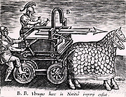 Roman machine for firing arrows mounted on a carriage drawn by two mailed horses. From 'Poliorceticon sive de machinis tormentis telis' by Justus Lipsius (Joost Lips) (Antwerp, 1605). Engraving.