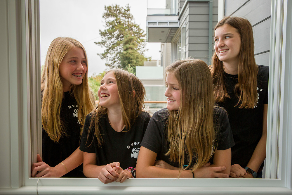 From left: The founders of the Noe Valley Girls Film Festival Charlotte Kane, 14, Caitlin Kane, 11, Maggie Marks, 11, and Ella Marks, 14, on Thursday, Aug. 24, 2017, in San Francisco, Calif.