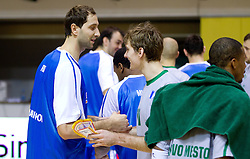 Hasan Rizvic and Zoran Dragic during basketball match between KK Krka and Azomash (UKR) of 4th Round of Regular season of Eurocup 2011/2012 on December 6, 2011, in Arena Leon Stukelj, Novo mesto, Slovenia.  (Photo by Vid Ponikvar / Sportida)