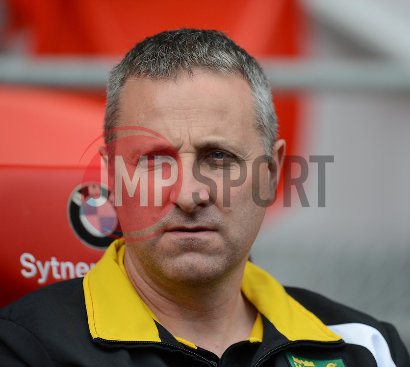 Norwich Manager, Neil Adams prior to kick off at the Cardiff city Stadium.  - Photo mandatory by-line: Alex James/JMP - Mobile: 07966 386802 30/08/2014 - SPORT - FOOTBALL - Cardiff - Cardiff City stadium - Cardiff City  v Norwich City - Barclays Premier League