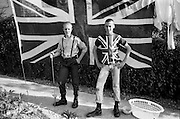 Symond and Lee with a Union Jack, Hawthorne Road, High Wycombe, UK, 1980s.