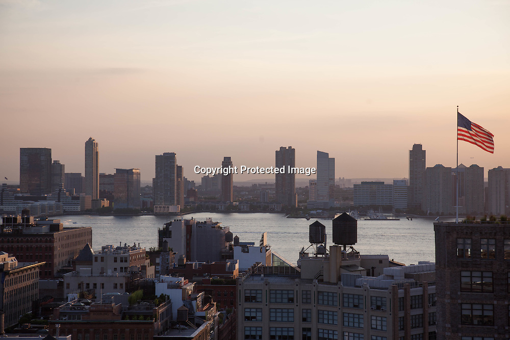 New York, Elevated view of Tribeca, Meatpacking fistrict and New Jersey in the distance