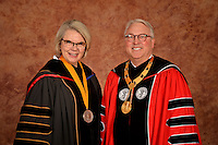 UNC System President Margaret Spellings (left) and NC State chancellor Randy Woodson (right) before the procession into PNC Arena.