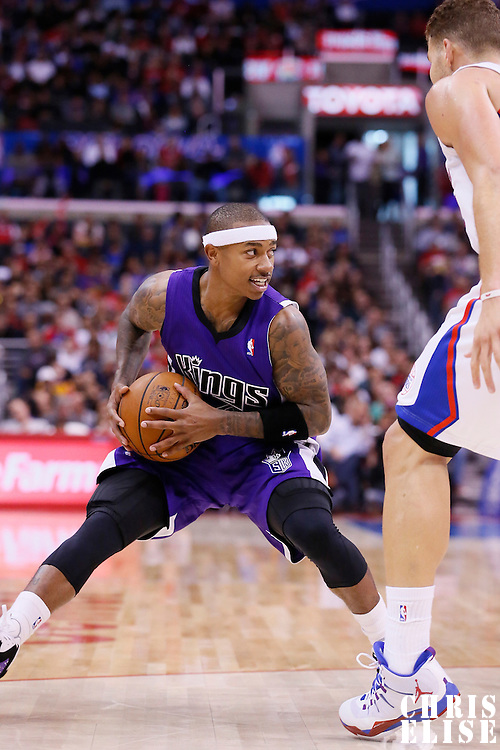 23 November 2013: Sacramento Kings point guard Isaiah Thomas (22) protects the ball during the Los Angeles Clippers 103-102 victory over the Sacramento Kings at the Staples Center, Los Angeles, California, USA.