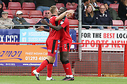 Crawley Town Forward James Collins celebrates his goal 1-0 during the EFL Sky Bet League 2 match between Crawley Town and Luton Town at the Checkatrade.com Stadium, Crawley, England on 17 September 2016. Photo by Phil Duncan.