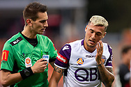 SYDNEY, NSW - FEBRUARY 24: Perth Glory midfielder Jason Davidson (3) gets up dazed after being hit by the ball at round 20 of the Hyundai A-League Soccer between Western Sydney Wanderers FC and Perth Glory on February 24, 2019 at Spotless Stadium, NSW. (Photo by Speed Media/Icon Sportswire)