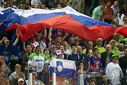 Supporters of Slovenia during Ice Hockey match between National Teams of Hungary and Slovenia in Round #3 of 2018 IIHF Ice Hockey World Championship Division I Group A, on April 25, 2018 in Arena Laszla Pappa, Budapest, Hungary. Photo by David Balogh / Sportida