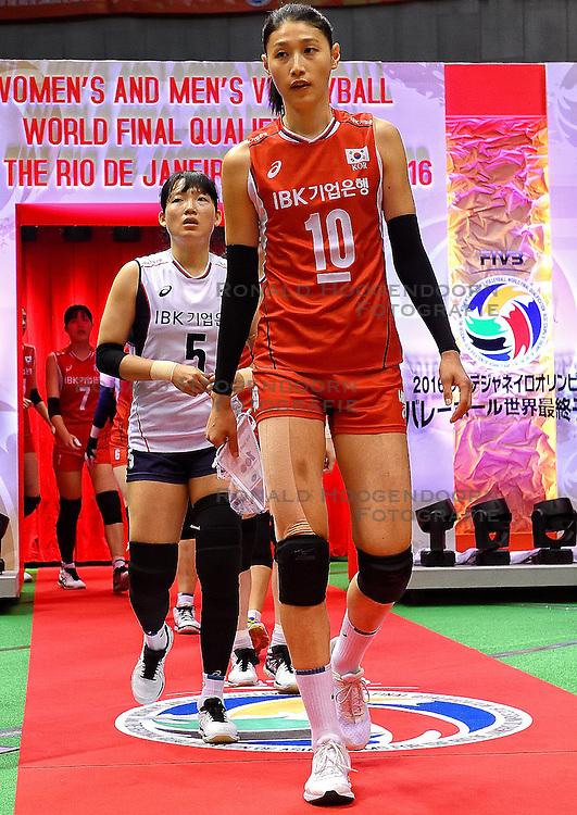 15-05-2016 JAP: OKT Nederland - Zuid Korea, Tokio<br /> Er is nog niets verloren, maar de volleybalsters van Oranje hebben tijdens het OKT een gevoelige 3-0 nederlaag geleden tegen Zuid-Korea / Sterspeelster Yeon-Koung Kim&nbsp;C #10 of Korea