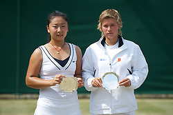 LONDON, ENGLAND - Sunday, July 3, 2011: Girls' Doubles runners-up Demi Schuurs (NED) & Hao Chen Tang (CHN) on day thirteen of the Wimbledon Lawn Tennis Championships at the All England Lawn Tennis and Croquet Club. (Pic by David Rawcliffe/Propaganda)