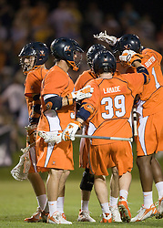 Virginia celebrates after scoring against Maryland.  The #3 ranked Virginia Cavaliers defeated the #8 ranked Maryland Terrapins 11-8 in the semi finals of the Men's 2008 Atlantic Coast Conference tournament at the University of Virginia's Klockner Stadium in Charlottesville, VA on April 25, 2008.