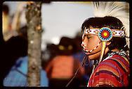 Indian boy in full dance costume at folk festival in St. Louis.  Missouri