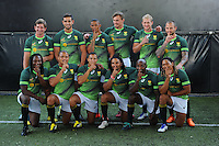 STELLENBOSCH, SOUTH AFRICA - Wednesday 20 January 2016, the players (back FLTR), Kwagga Smith, Chris Dry, Ryno Benjamin, Carel du Preez, Philip Snyman and Francois Hougaard. Front FLTR, Seabelo Senatla, Juan de Jongh, Cheslin Kolbe, Rosko Specman, Sandile Ngcobo and Justin Geduld during the launch of Springbok 7's new jersey with Steinhoff International as sponsor at the Markotter Indoor facility in Stellenbosch.<br /> Photo by Roger Sedres/ImageSA