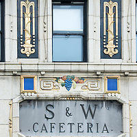 Architectural details in downtown Asheville, North Carolina. S & W Cafeteria is a historic  building located at 56 Patton Avenue in downtown Asheville, North Carolina. It was designed by architect Douglas Ellington and built in 1929 in the Art Deco style.