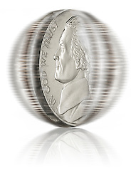 Spinning United States Nickel coin Spinning U.S. coins