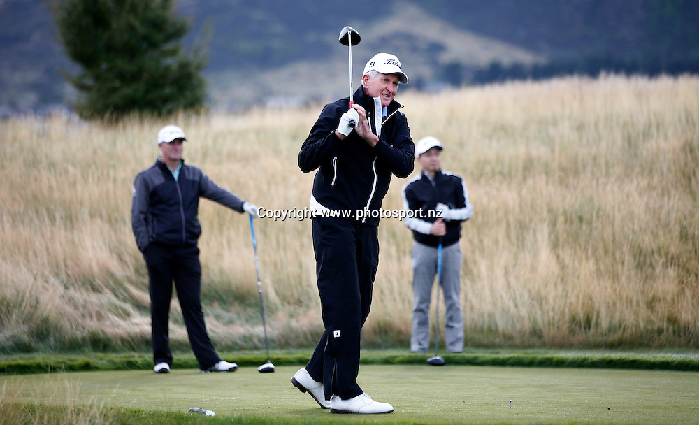 Sir Bob Charles plays at Jacks Point, Queenstown, during round three of the 2016 BMW ISPS Handa New Zealand Open, The Hills, Arrowtown, New Zealand.12 March 2016. Photo by Michael Thomas/www.photosport.nz