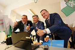 31.05.2015, Graz, AUT, Landtagswahl in der Steiermark, im Bild Mario Eustaccio, Gerhard Kurzmann und Mario Kunasek (FPÖ) // during the state parliament election day in Graz, Austria on 2015/05/31, EXPA Pictures © 2015, PhotoCredit: EXPA/ Erwin Scheriau