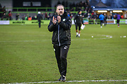 Forest Green Rovers assistant manager, Scott Lindsey applauds the fans at the end of the match during the EFL Sky Bet League 2 match between Forest Green Rovers and Coventry City at the New Lawn, Forest Green, United Kingdom on 3 February 2018. Picture by Shane Healey.