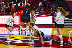 BLOOMINGTON, IL - September 15: Redbird celebration during a college Women's volleyball match between the ISU Redbirds and the Marquette Golden Eagles on September 15 2019 at Illinois State University in Normal, IL. (Photo by Alan Look)