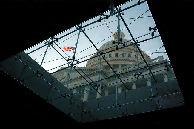 View of the Capitol Dome through the sky lights underground at the New visitors center under construction.