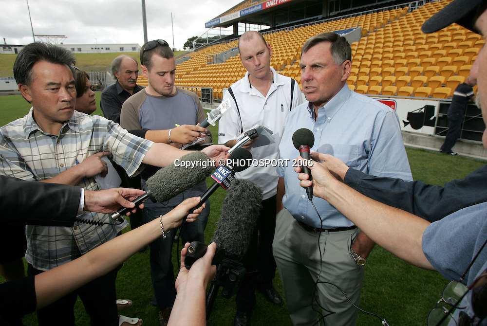 Warriors director of football John Hart speaks to the media during the Warriors training session held at Ericsson Stadium, Auckland, on Wednesday 1 March, 2006. Photo: Andrew Cornaga/PHOTOSPORT