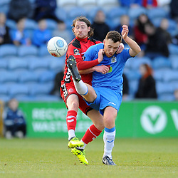 TELFORD COPYRIGHT MIKE SHERIDAN 16/2/2019 - James McQuilkin of AFC Telford battles for the ball during the Vanarama Conference North fixture between Stockport County and AFC Telford United at Edgeley Park