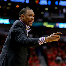 Apr 21, 2018; New Orleans, LA, USA; New Orleans Pelicans head coach Alvin Gentry against the Portland Trail Blazers during the fourth quarter in game four of the first round of the 2018 NBA Playoffs at the Smoothie King Center.  Pelicans defeated the Trail Blazers 131-123 sweeping the series and advancing to the western conference semi-finals.  Mandatory Credit: Derick E. Hingle-USA TODAY Sports