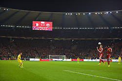 BRUSSELS, BELGIUM - Sunday, November 16, 2014: Wales' Gareth Bale takes a free-kick against Belgium during the UEFA Euro 2016 Qualifying Group B game at the King Baudouin [Heysel] Stadium. (Pic by David Rawcliffe/Propaganda)