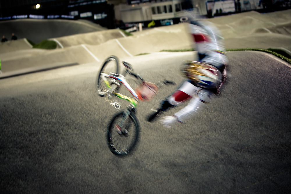 #1 (POTTIER Magalie) FRA comes down hard on the first straight during practice at the UCI BMX Supercross World Cup in Manchester, UK