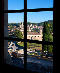 The village of Lourmarin as seen from a window of the Chateau de Lourmarin.