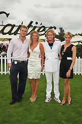 Left to right, HOLLY BRANSON and FRED ANDREWS, SAM BRANSON and ISABELLA ANSTRUTHER-GOUGH-CALTHORPE at the 25th annual Cartier International Polo held at Guards Polo Club, Great Windsor Park, Berkshire on 26th July 2009.