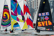Star Class boats are raced by 20 Olympic and World champion sailors – including triple Olympic medallist Iain Percy, double Olympic medallist Andrew Simpson, Olympic medallists Pippa Wilson, Ian Walker, Luke Patience and Xavier Rohart .  They are using boats with sails designed by a range of artists -  Eine, Julian Opie, Goldie and David Begbie. This is the first time sailing and art has been brought together in a match racing series. The London Boat Show, Excel centre, Docklands, London, UK.