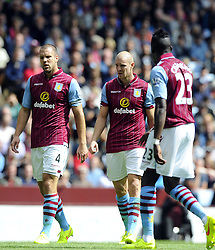 Aston Villa's Ron Vlaar, Aston Villa's Phillip Senderos and Aston Villa's Aly Cissokho - Photo mandatory by-line: Joe Meredith/JMP - Mobile: 07966 386802 23/08/2014 - SPORT - FOOTBALL - Birmingham - Villa Park - Aston Villa v Newcastle United - Barclays Premier League