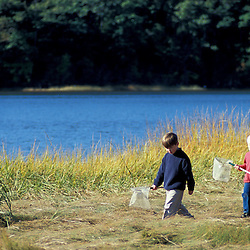 Yarmouth, ME. Boys walking in a salt marsh bordering the Royal River. Tidal river.  Maine coast.  TPL project.
