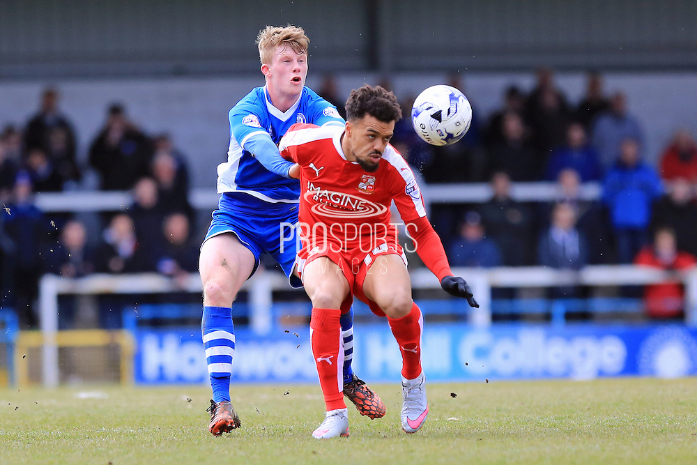 Nicky Ajose, Andy Cannon during the Sky Bet League 1 match between Rochdale and Swindon Town at Spotland, Rochdale, England on 30 April 2016. Photo by Daniel Youngs.